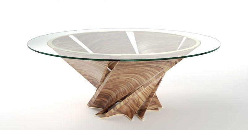Natuzzi, Torsion table, design Mario Bellini