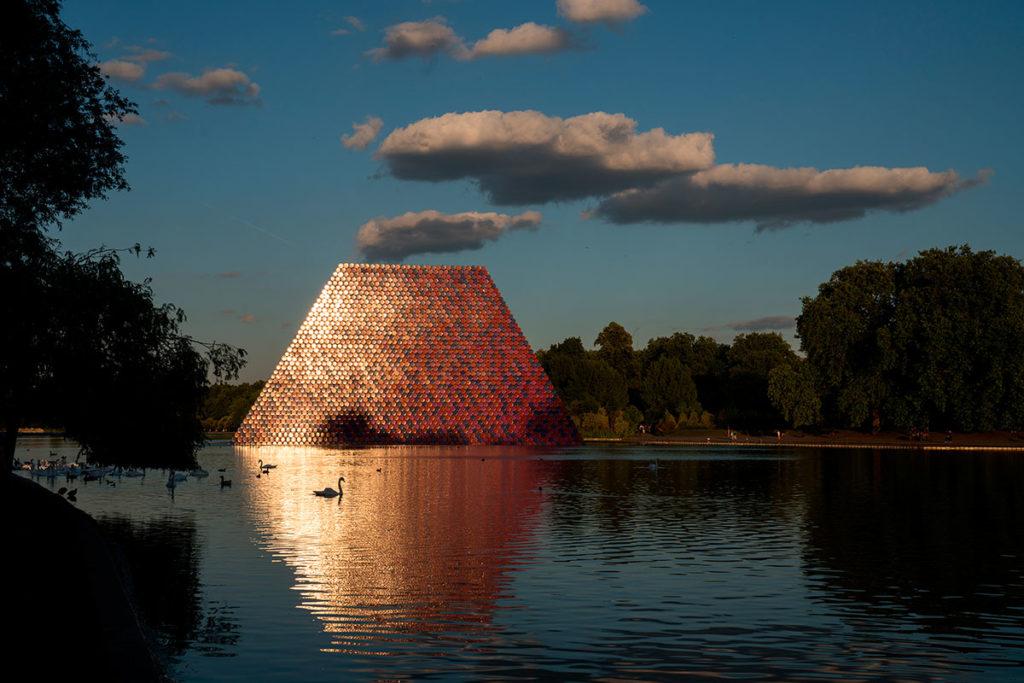 The London Mastaba at Serpentine lake, Hyde Park