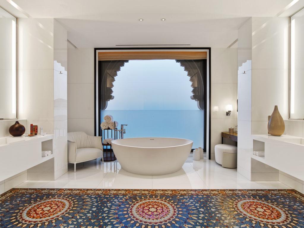 Bathroom with view at the Four Seasons Resort Dubai at Jumeirah Beach