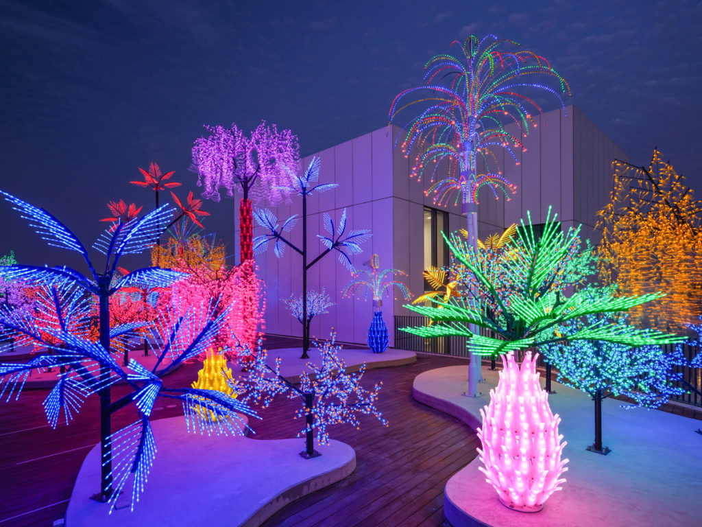 Installation view of Contrary Life A Botanical Light Garden Devoted to Trees 2018 by Ali Farid and Aseel AlYaqoub Art Jameel Commission for Jameel Arts Centre, Dubai, Courtesy Art Jameel