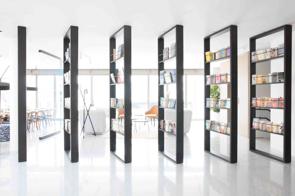 Bookshelves as space dividers
