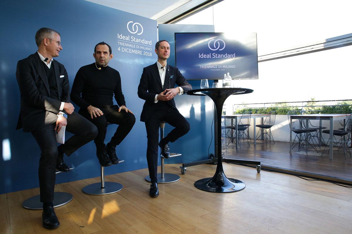 Eugenio Cecchin, CEO at IdealStandard Italia, Roberto Palomba e Torsten Türling, CEO di Ideal Standard International
