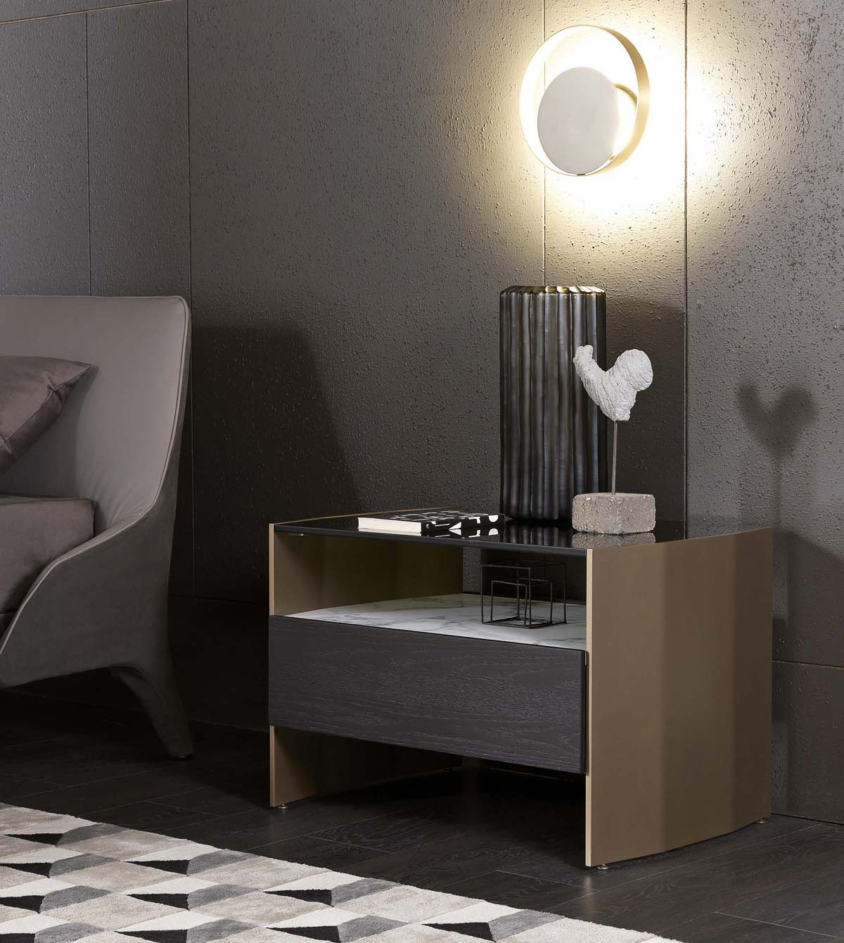 MisuraEmme, Milvian night table, design by Francesco Lucchese