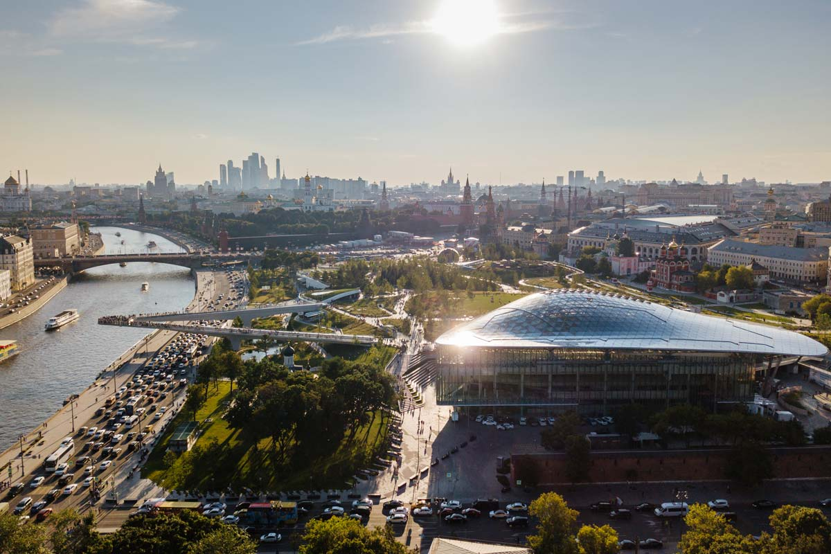 Zaryadye park with a multifunctional concert complex, Moscow, Russia
