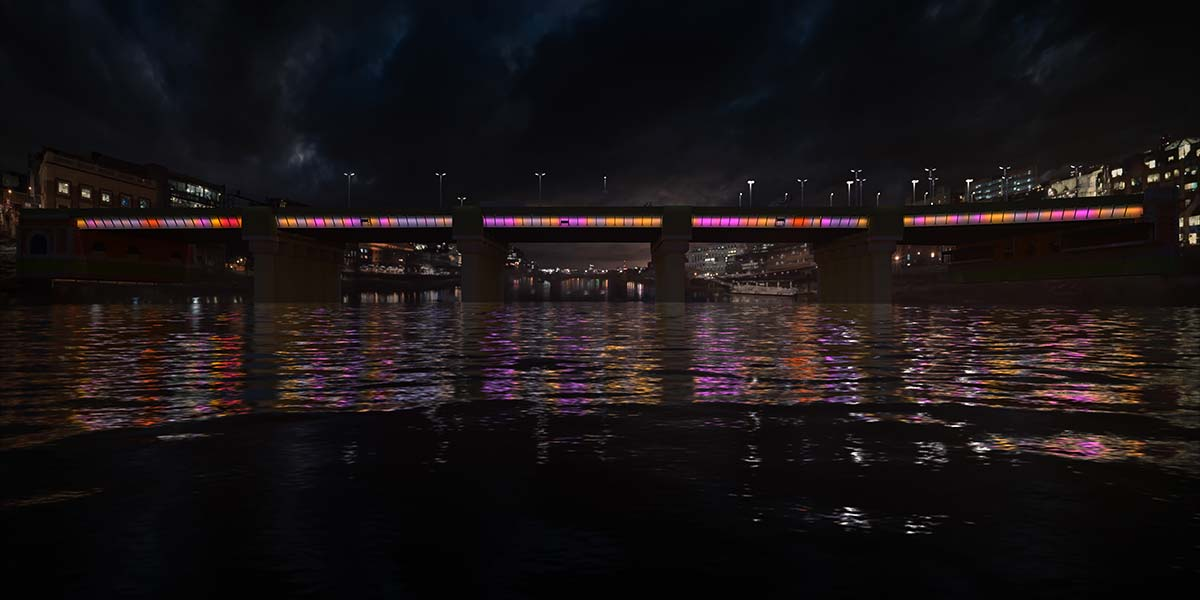 Cannon Street Bridge © Illuminated River, Leo Villareal Studio
