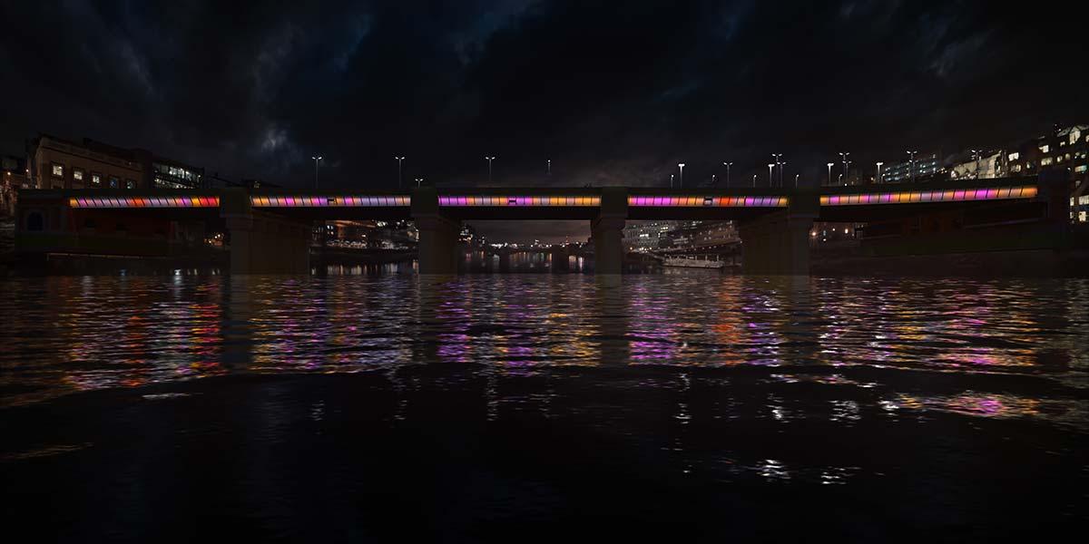 Cannon Street Bridge © Illuminated River, Leo Villareal Studio