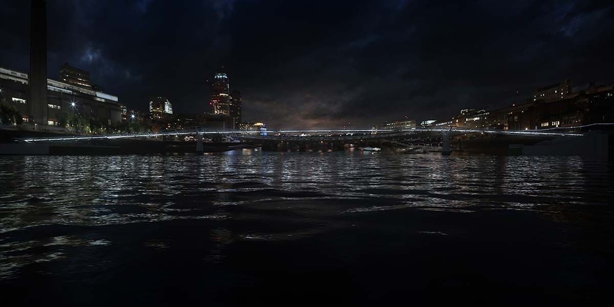 Millenium Bridge © Illuminated River, Leo Villareal Studio