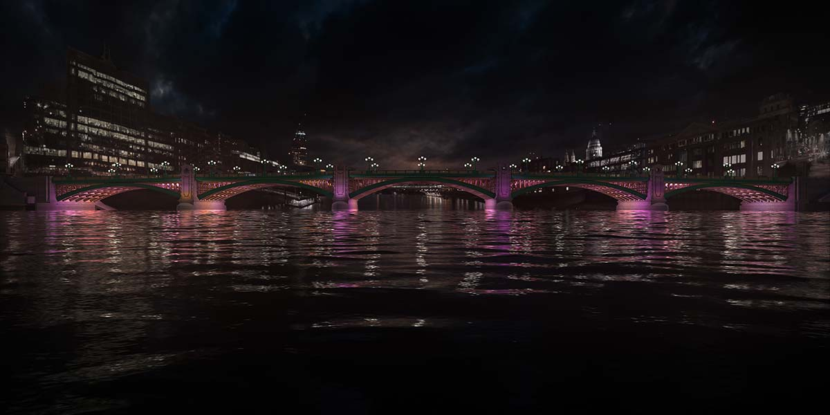 Southwark Bridge © Illuminated River, Leo Villareal Studio