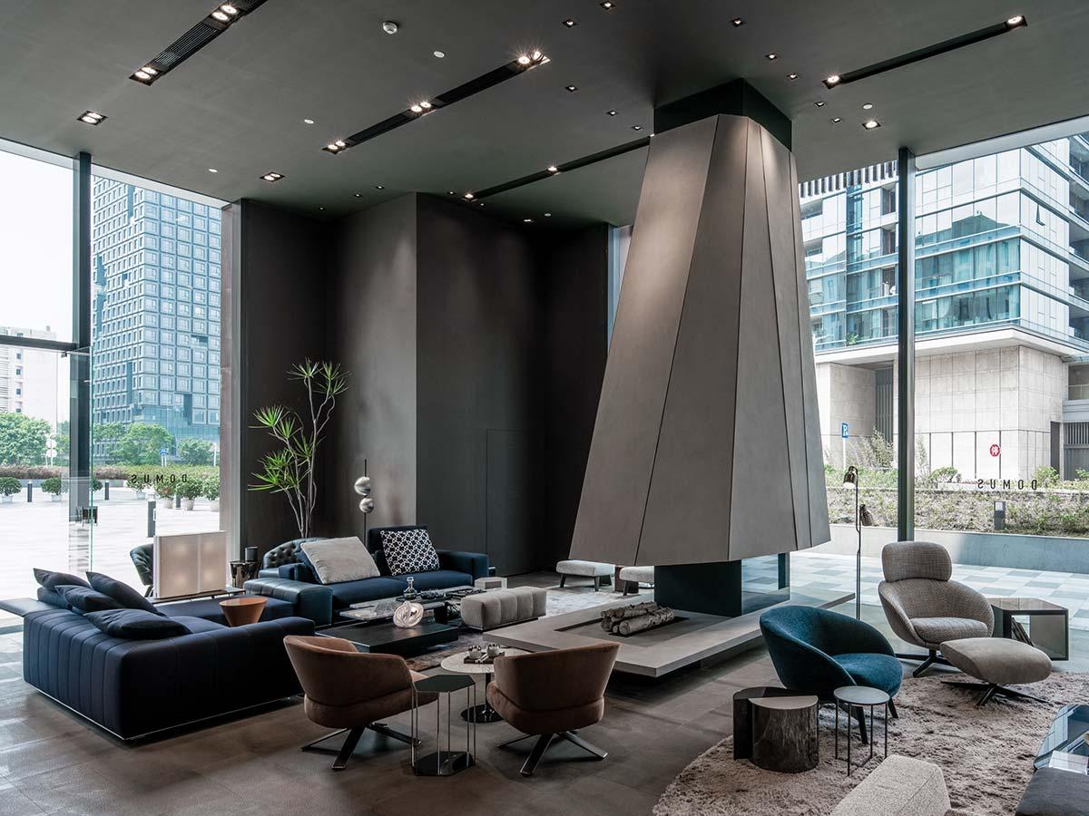 Vetrina showroom Minotti a Shenzhen in collaborazione con Domus Tiandi
