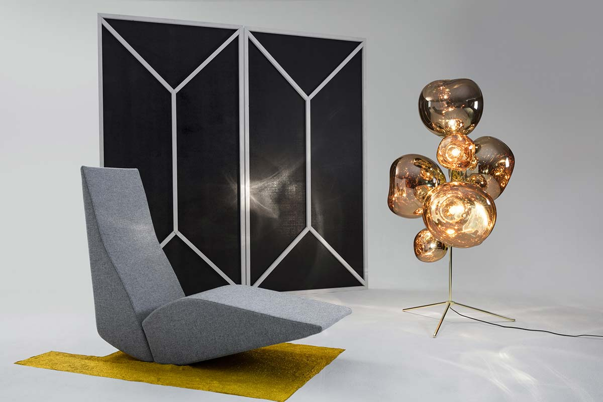 Tom Dixon, Bird Chaise with Melt Standing Chandelier