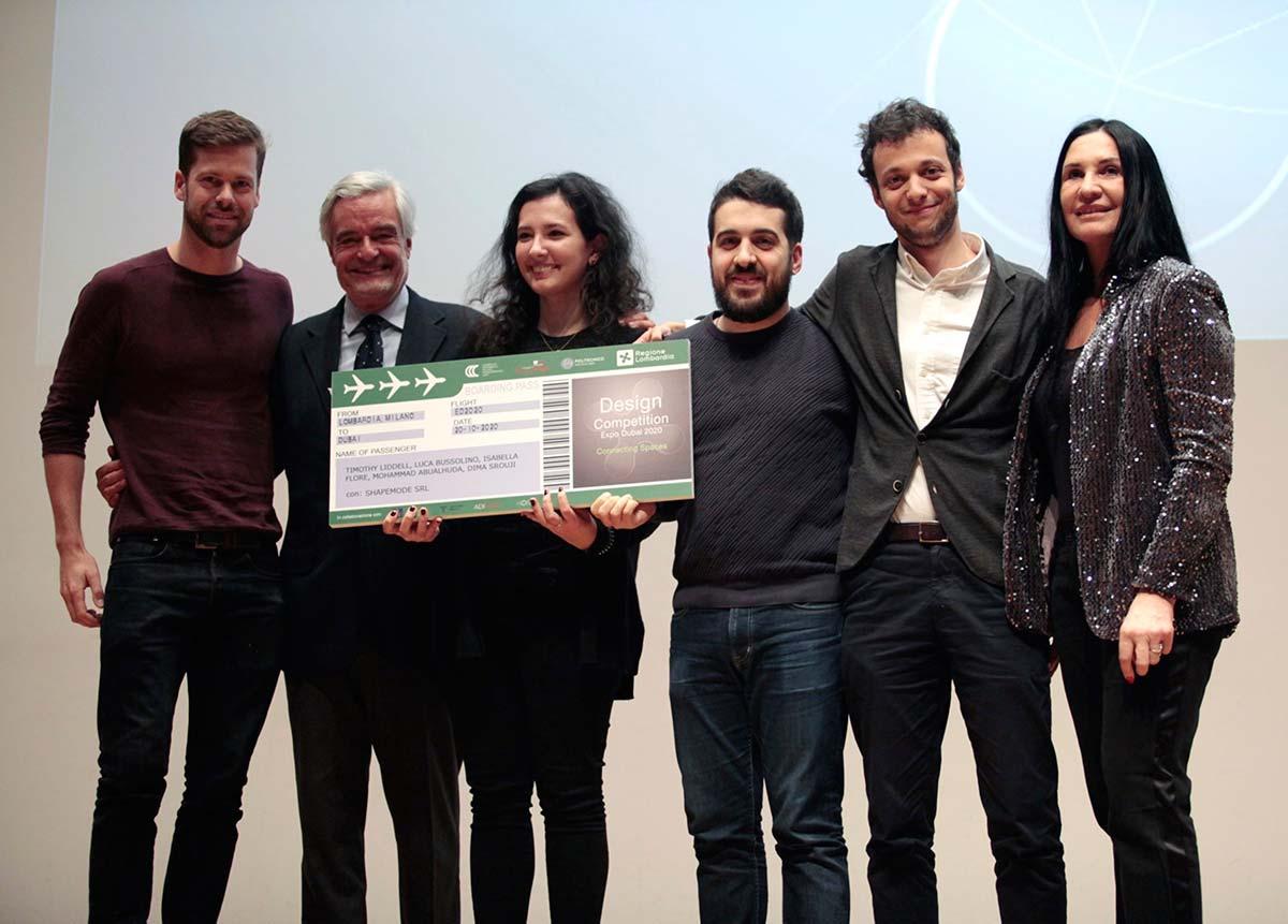 I vincitori del Premio Speciale ADI Design Competition Expo Dubai 2020. A destra Lara Magoni, Assessore al Turismo, Marketing Territoriale e Moda della Regione Lombardia