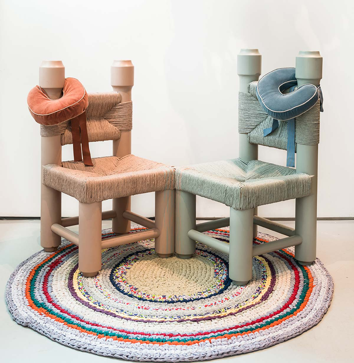 "Bunny Rogers. ""Chairs (after Brigid Mason),"" 2014. Rush-seated interwoven wood chairs."