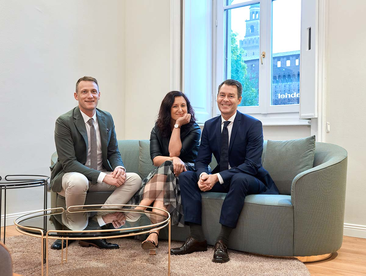 CEO Anders Hedegaard Petersen, Paola Monzani, Head of branch in Italia, CCO Claus Møller