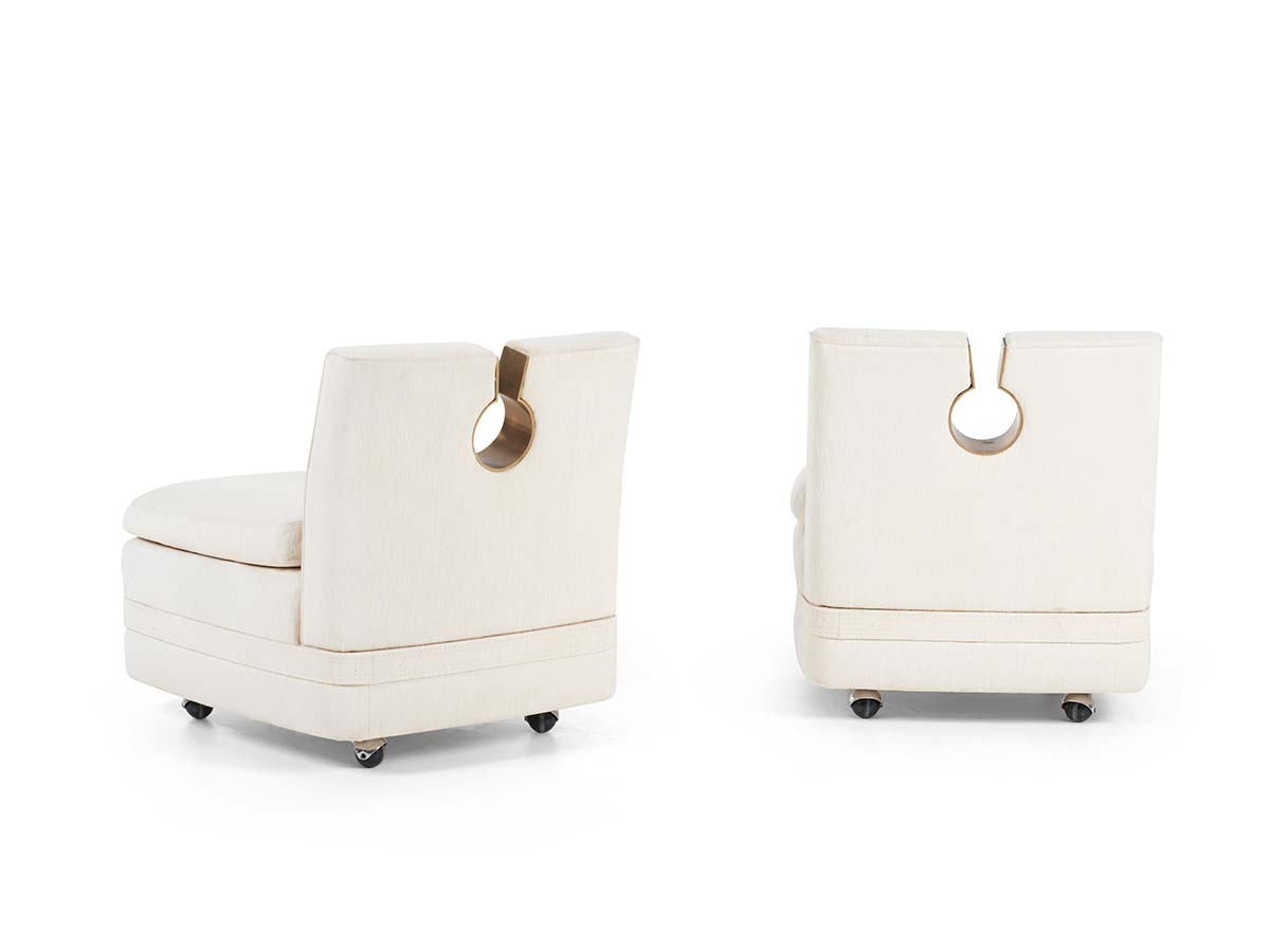 Pair of Unique Lounge Chairs and Ottoman by Osvaldo and Valeria Borsani, courtesy of Ross Floyd