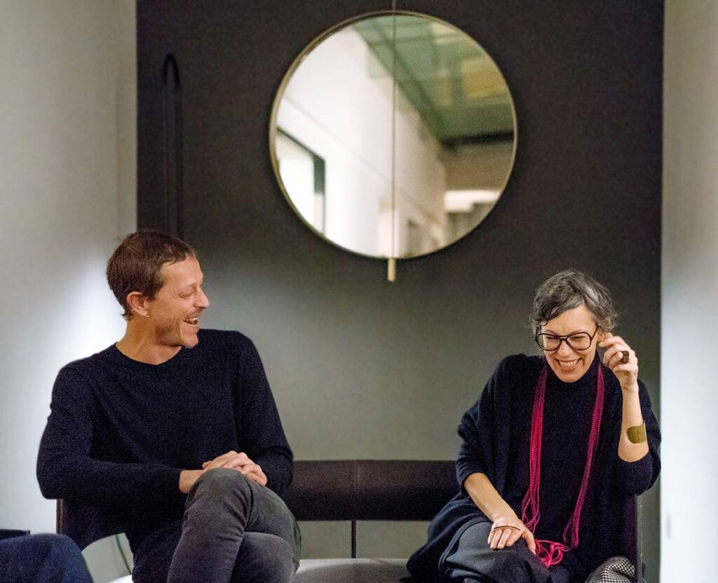 David Lopez Quincoces and Carola Bestetti, head of marketing & communication of Living Divani