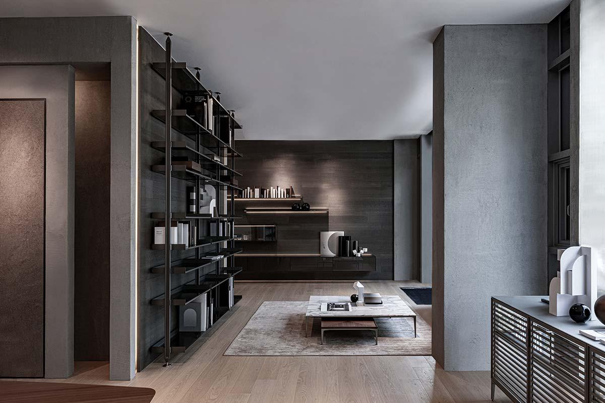 Bookcase Zenit, tavolini Tray