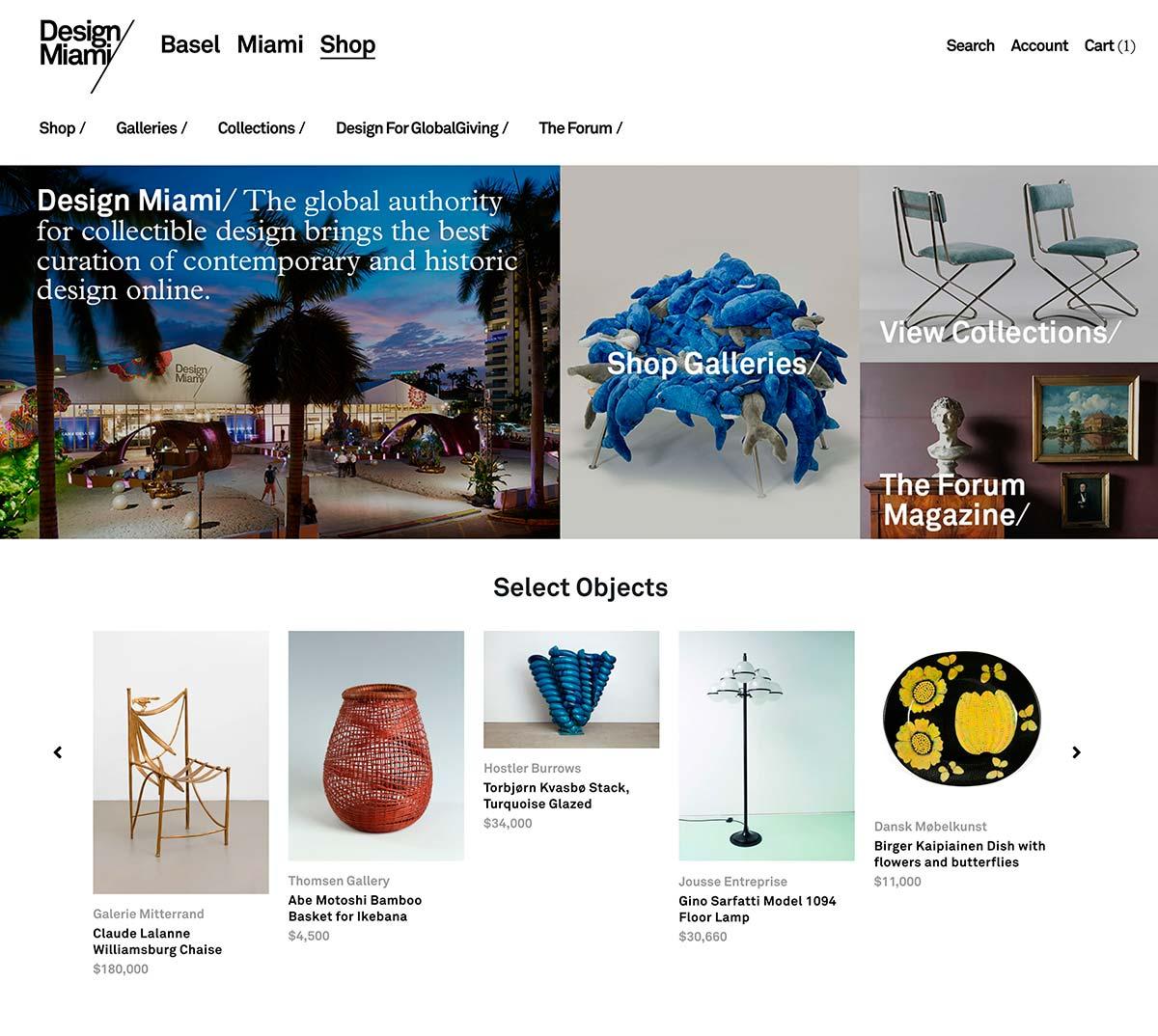Design Miami/ Shop, Homepage