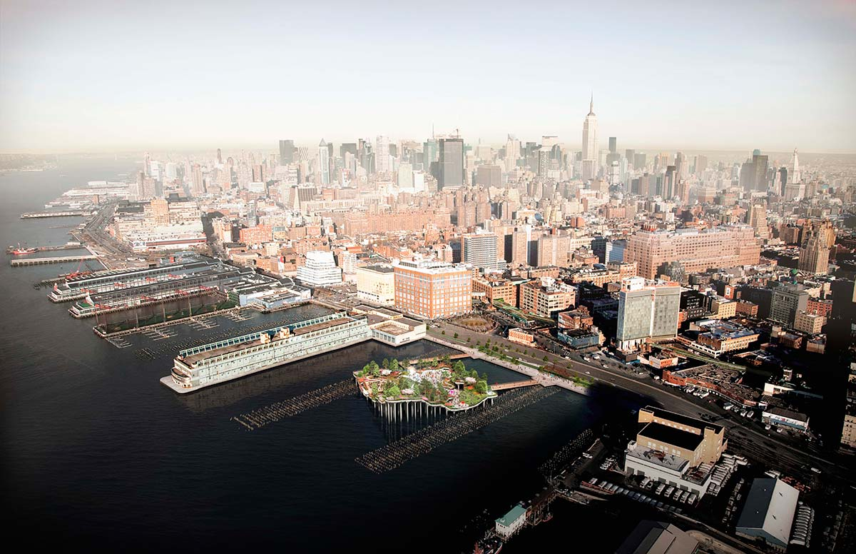 Pier 55, New York, aerial view