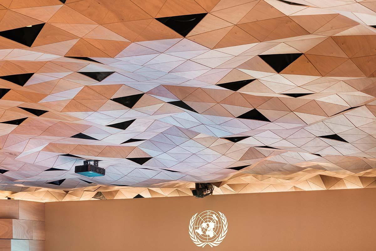 Il sistema WOOD-SKIN per il soffitto della Sala XIX dell'ONU di Ginevra
