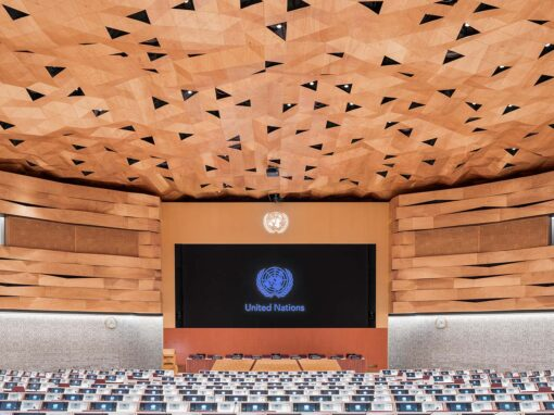 The WOOD-SKIN system for the the dome and walls of the new Assembly Hall of the United Nations Palace in Geneva. Photo Credits © DSL Studio