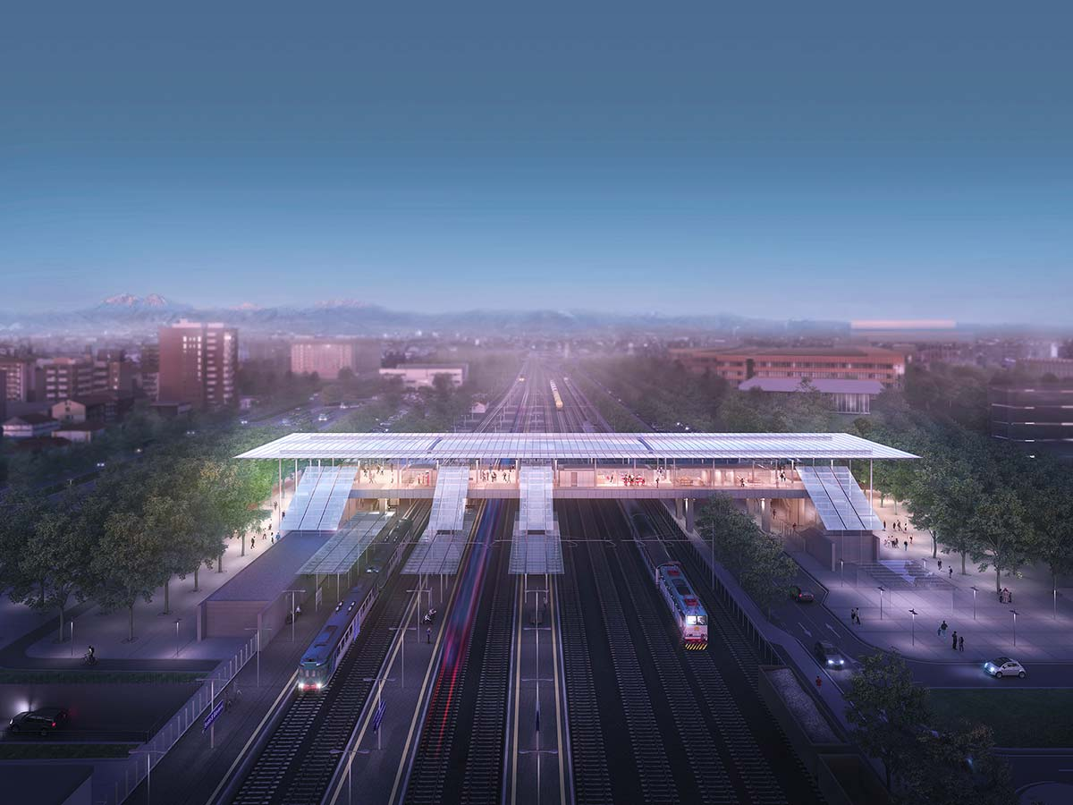 La stazione di Sesto San Giovanni, concepita da Renzo Piano Building Workshop, con Ottavio Di Blasi & Partners. Ph ©odb