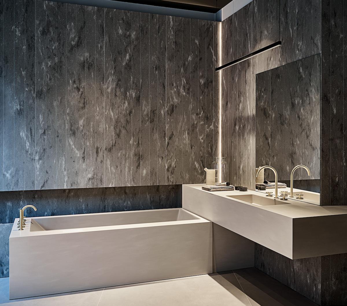 La vasca con lavabo integrato in Corian di Rexa Design