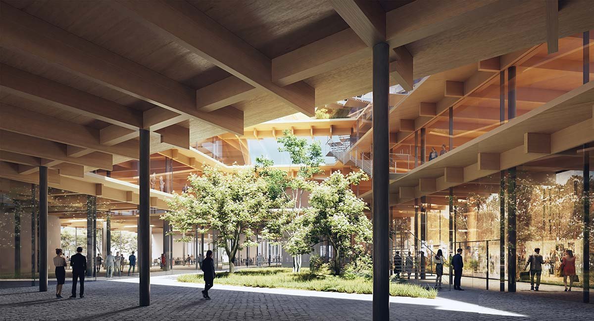 Welcome, feeling at work, Milan - Render © Kengo Kuma and Associates
