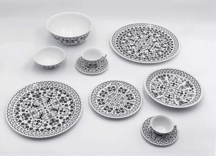 The White Show by Driade, Design Antonia Astori, Illustraiotn Once upon a plate by Lorenzo Petrantoni